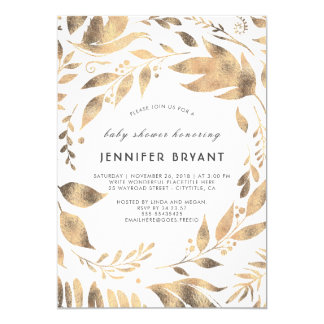 White and Gold Leaves Laurel Fall Baby Shower Card
