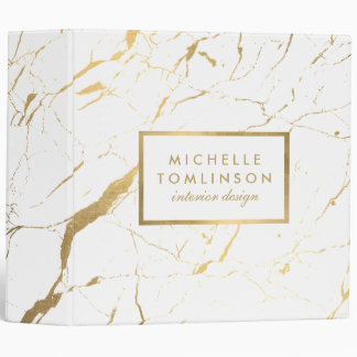 White and Gold Marble Designer Binder