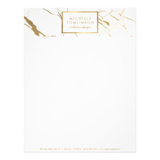 White And Gold Marble Designer Letterhead at Zazzle