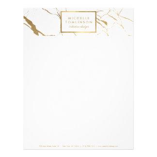 White and Gold Marble Designer Letterhead