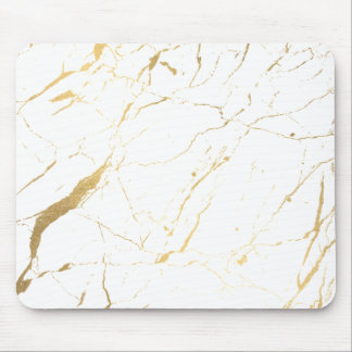 White and Gold Marble Designer Mouse Pad
