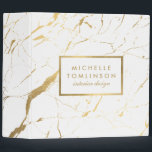 """White and Gold Marble Designer Personalized 3 Ring Binder<br><div class=""""desc"""">Coordinates with the White and Gold Marble Designer Business Card Template by 1201AM. Your name or business name is elegantly displayed over a white and faux gold background for a very chic aesthetic. The organic marble pattern feels luxurious and rich on this stylish customizable binder. &#169; 1201AM CREATIVE</div>"""