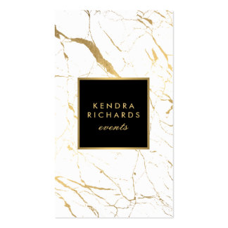 White and Gold Marble Event Planner Business Card