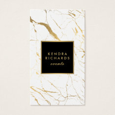 White And Gold Marble Event Planner Business Card at Zazzle