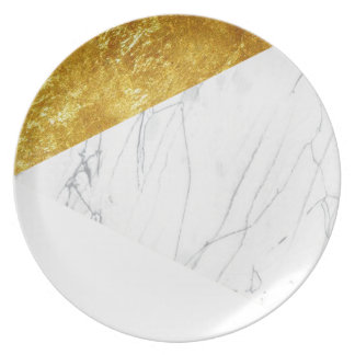 White and Gold Marble Melamine Plate