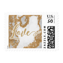 White and Gold Marble Modern holiday Postage