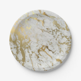 white and gold marble paper plate