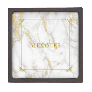White And Gold Marble Stone Texture Gift Box