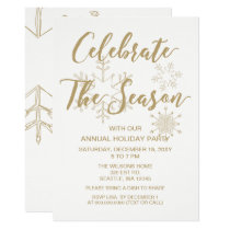 White and Gold Modern holiday Party Card