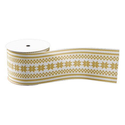 White and Gold Nordic Christmas Sweater Pattern Grosgrain Ribbon