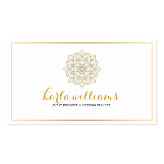 White And Gold Ornate Floral Mandala Business Card