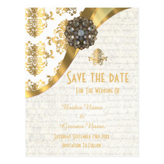 White and gold parchment damask save the date postcard