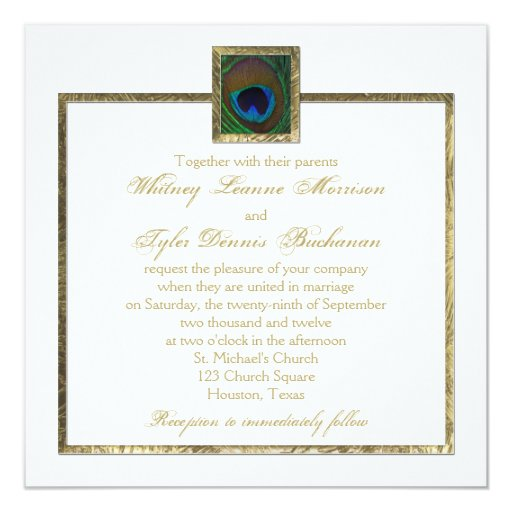 White and Gold Peacock Feather Wedding Invitation