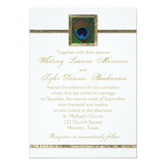 Together With Their Parents Wedding Invitation: White And Gold Peacock Feather Wedding Invitation