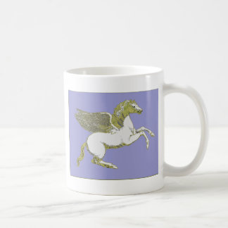 White and Gold Pegasus Flying Horse Coffee Mug