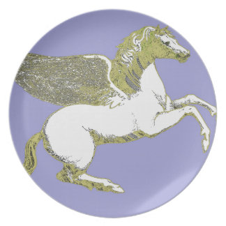 White and Gold Pegasus Flying Horse Plate