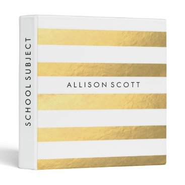 coffeecatdesigns White And Gold Personalized Binder