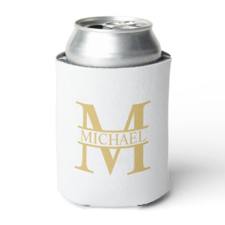 White and Gold Personalized Monogram and Name Can Cooler