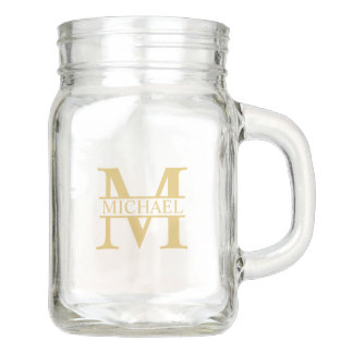 White and Gold Personalized Monogram and Name Mason Jar