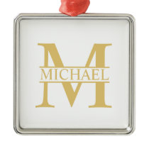 White and Gold Personalized Monogram and Name Metal Ornament