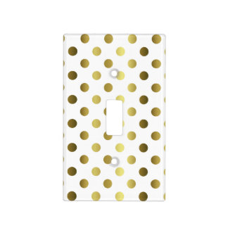 White and Gold Polka Dot Light Switch Plate