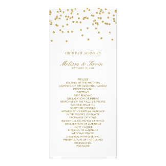 White and Gold Polka-Dots Order of Services Rack Card