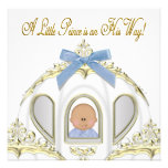 White and Gold Prince African American Baby Shower Custom Invite