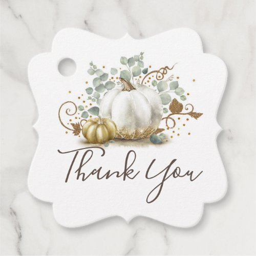 White and Gold Pumpkins Fall Thank You Favor Tags