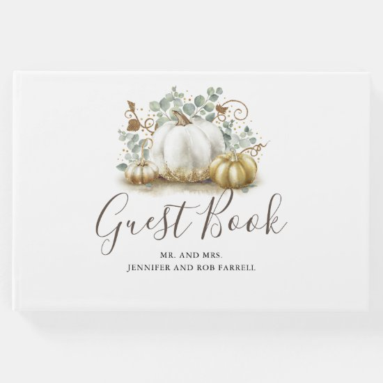 White and Gold Pumpkins Fall Wedding Guest Book