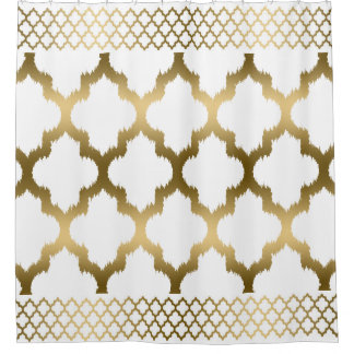 Gold And White Shower Curtains