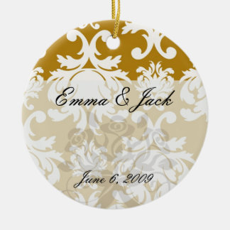 white and gold royale lovely damask ceramic ornament