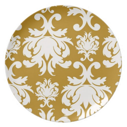 white and gold royale lovely damask dinner plate