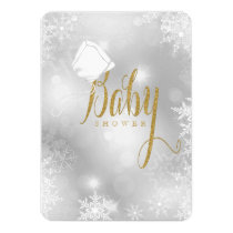 White and Gold Snowflake Baby Shower Card