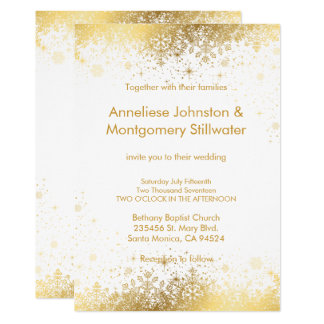 White And Gold Snowflakes Wedding Invitation