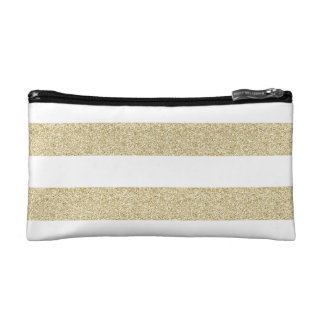 White and Gold Stripe and Stars Makeup Bag
