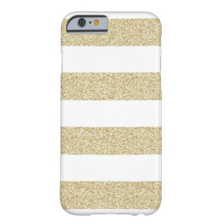 White and Gold Stripe Pattern Barely There iPhone 6 Case