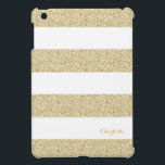 """White and Gold Stripe Pattern with Name iPad Mini Case<br><div class=""""desc"""">White and Gold Stripe Pattern iPad case</div>"""