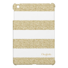 White And Gold Stripe Pattern With Name Ipad Mini Case at Zazzle