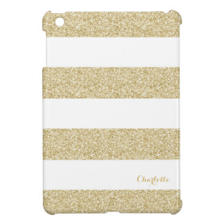 White and Gold Stripe Pattern with Name iPad Mini Case