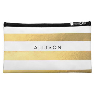 White And Gold Stripe Personalized Cosmetic Bag at Zazzle