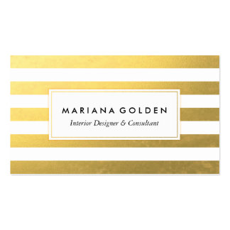 White and Gold Striped Business Card