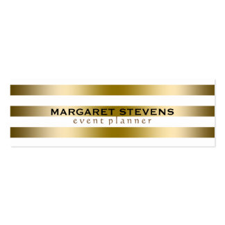 White And Gold Stripes Modern Design Double-Sided Mini Business Cards (Pack Of 20)