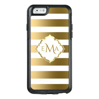 White And Gold Stripes With Monogram