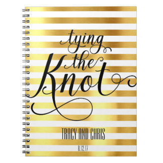 white and gold tying the knot wedding notebook