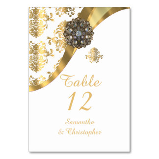 White and gold vintage damask wedding card
