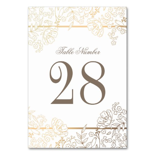 White And Gold Vintage Flowers Frame Wedding Table Number Zazzlecom
