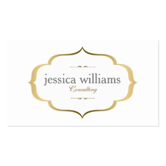 White And Gold Vintage Frame Double-Sided Standard Business Cards (Pack Of 100)
