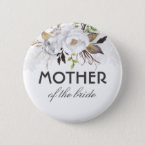 White and Gold Watercolor Flowers Elegant Wedding Pinback Button
