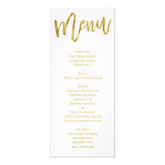 White And Gold Wedding Menu Personalized Card