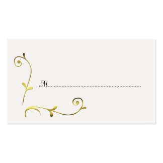 White and Gold Wedding Reception Place Cards Business Cards
